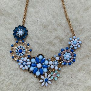 Francesca's Collections Jewelry - Blue crystals floral bib necklace
